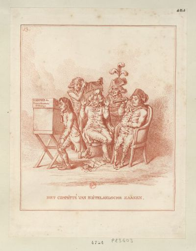 Het Committé van buitelandsche zaaken : [estampe] / [gravé par W. Humphrey d'après D. Hess]
