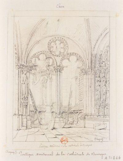 Portique méridional de la cathédrale de Bourges : [dessin] / Chapuy