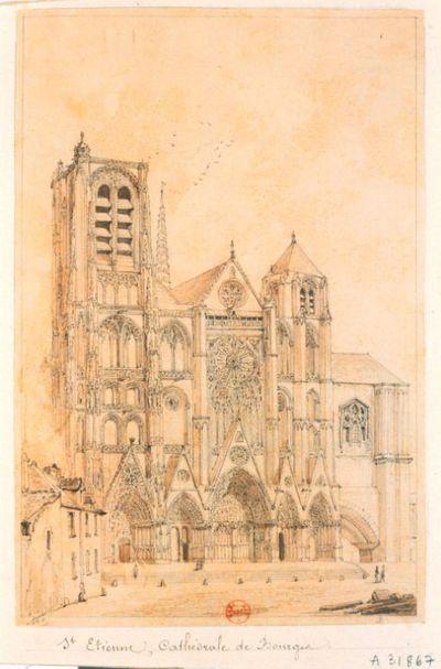 [Saint-Etienne. Cathédrale de Bourges. Façade occidentale] : [dessin] / A. Dts [Adrien Dauzats]