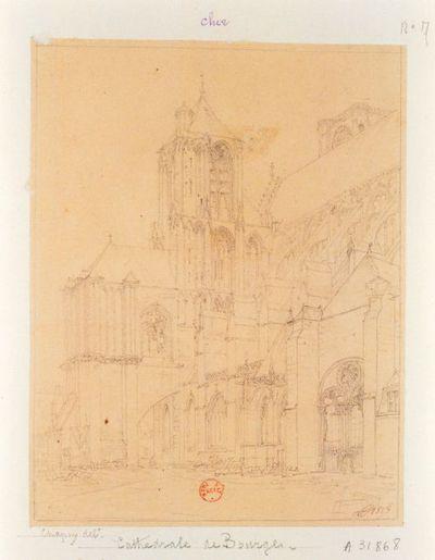 [Cathédrale de Bourges. Façade méridionale] : [dessin] / CJ [Joseph Chapuy]