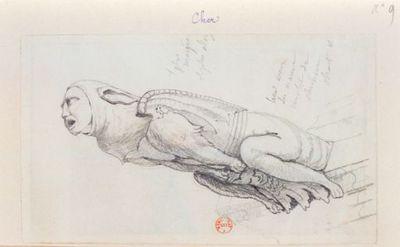 [Bourges. Gargouille à tête humaine relevée à la cathédrale] : [dessin]