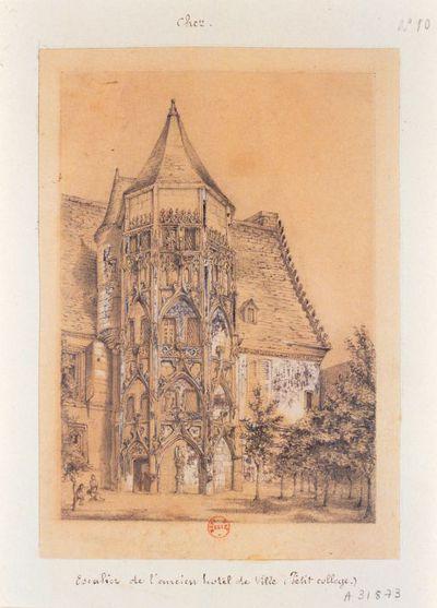 [Bourges. Escalier de l'ancien Hôtel de Ville. Petit Collège] : [dessin]