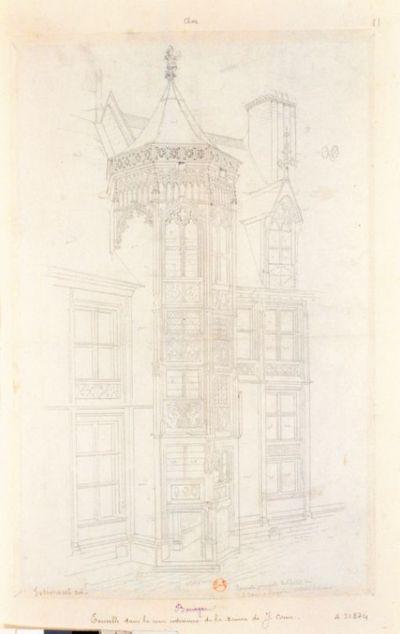 Tourelle principale de l'hotel de J. Coeur à Bourges, intérieur de la cour : [dessin] / [François-Gabriel-Théodore Basset de Jolimont]