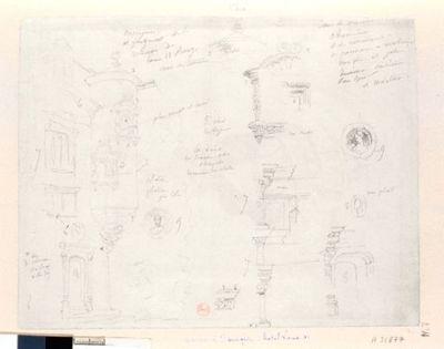 [Bourges. Hôtel de Louis XI. Rue des Vieilles Prisons. Fragments et détails] : [dessin]