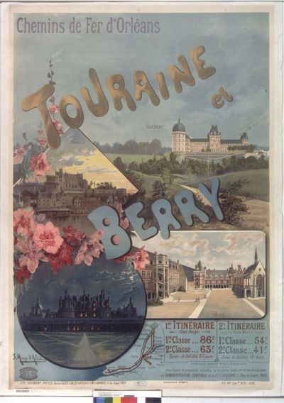 Chemins de fer d'Orléans. Touraine et Berry : [affiche] / F. Hugo d'Alési ; Atelier H. d'Alési, 10, rue Bréguet, Paris