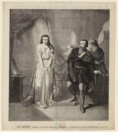 Lady Macbeth, tableau de Muller (musée du Luxembourg) : [estampe] / [Muller] ; lithographié par Ch. Kreutzberger