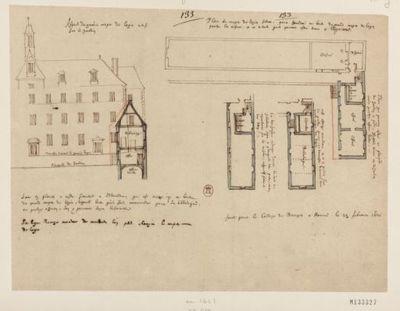 [Collège de Bourges, France : projet d'un bâtiment à ajouter au corps de logis neuf - coupe et plans des étages] : [dessin, plan] / [Fr. Étienne Martellange]