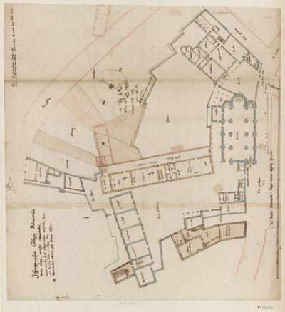 [Collège de Bourges, France : plan d'ensemble montrant les parties construites et à construire ] : [dessin, plan] / [Fr. Étienne Martellange]