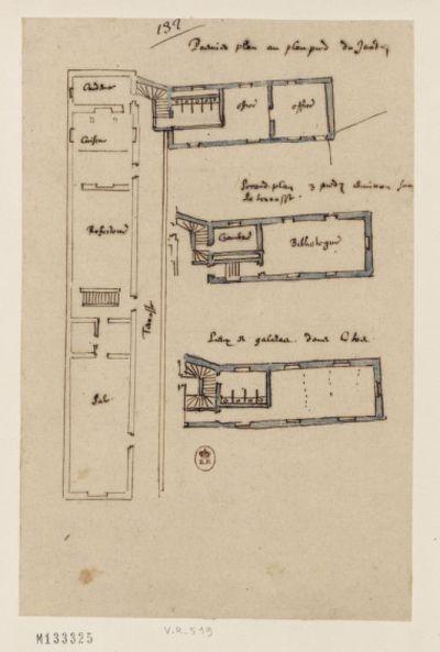 [Collège de Bourges, France : double des plans aux différents étages du