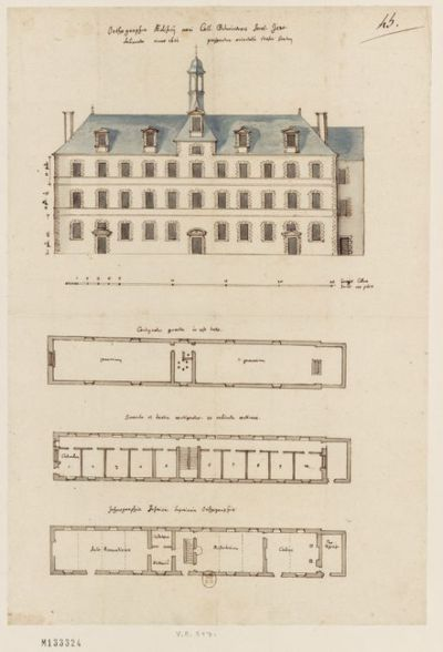 [Collège de Bourges, France : élévation de la façade orientale et plans des étages du corps de logis neuf] : [dessin, plan] / [Fr. Étienne Martellange]