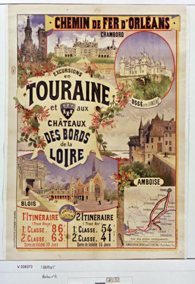 Chemin de fer d'Orléans. Excursions en Touraine et aux châteaux des bords de Loire : [affiche] / G. Fraipont ; Fraipont et Moreau, 95 rue de Vaugirard, Paris