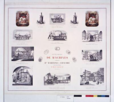 Spécimen de machines - Hte Marinoni & Chaudré constructeurs, 67, rue de Vaugirard, 67, Paris ... : [affiche] / [Vignettes par] Lepage [et] Minne