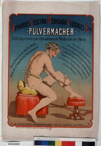 Appareils électro médicaux flexibles b[reve]tés - Pulvermacher..., névralgies, rhumatismes ... : [affiche] / [non identifié]