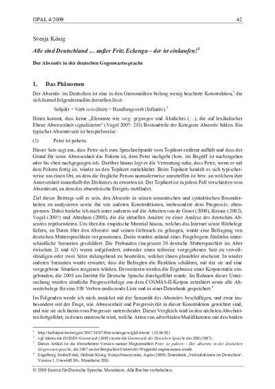 Alle sind Deutschland...außer Fritz Eckenga - der ist einkaufen : der Absentiv in der deutschen Gegenwartssprache