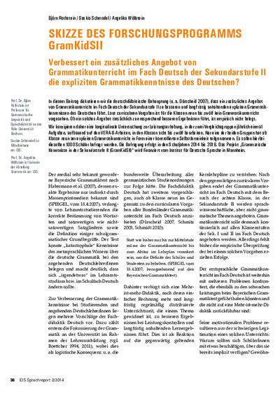 Skizze des Forschungsprogramms GramKidSII. Verbessert ein zusätzliches Angebot von Grammatikunterricht im Fach Deutsch der Sekundarstufe II die expliziten Grammatikkenntnisse des Deutschen?