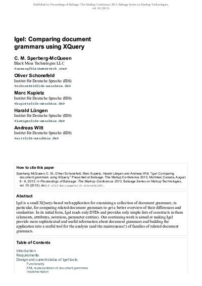 Igel: Comparing document grammars using XQuery