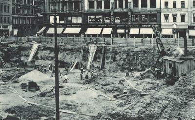 Bau der Untergrundmeßhalle Markt in Leipzig: durch die Leipziger Messe- und Ausstellungs-Aktiengesellschaft in Leipzig, Centralstr. 3
