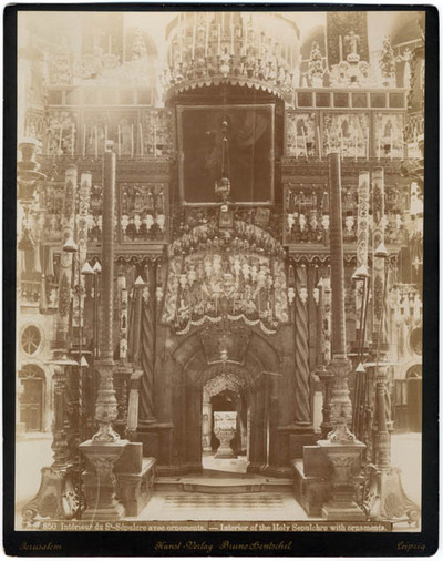 Intérieur du St-Sépulcre avec ornements = Interior of the Holy Sepulchre with ornaments [Jerusalem850]