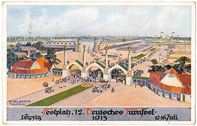 Festplatz 12. Deutsches Turnfest: Leipzig 1913, 12.-16. Juli : Offiz. Festpostkarte für das 12. Deutsche Turnfest in Leipzig vom 12.-16. Juli 1913; Nr. 1: Der Festplatz