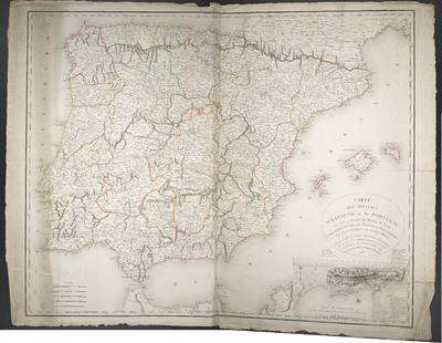 Carte Des Royaumes D'Espagne et de Portugal où l'on a marqué les Routes de Poste, et les limites des diverses Provinces et Gouvernemens : Pour servir à l'intelligence des Opérations Militaires ; Dressée d'après les dernieres Observations Astronomiques, les nouvelles Cartes espagnoles gravées ou manuscrites, et l'Atlas de ces deux Royaumes donné en 1770