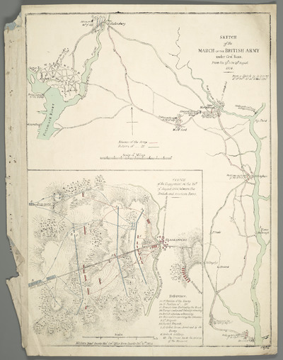 Sketch of the March of the British Army under Gen[era]l Ross : From the 19th to the 29th August 1814
