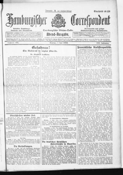 Börsen-Halle / ab 1905: Hamburgischer Correspondent und neue hamburgische Börsen-Halle - 1922-07-03