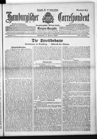 Börsen-Halle / ab 1905: Hamburgischer Correspondent und neue hamburgische Börsen-Halle - 1922-02-11