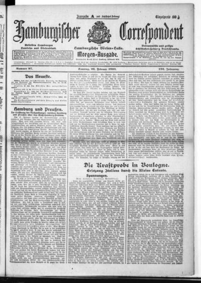 Börsen-Halle / ab 1905: Hamburgischer Correspondent und neue hamburgische Börsen-Halle - 1922-02-26