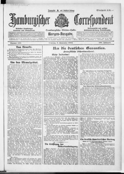 Börsen-Halle / ab 1905: Hamburgischer Correspondent und neue hamburgische Börsen-Halle - 1922-09-05