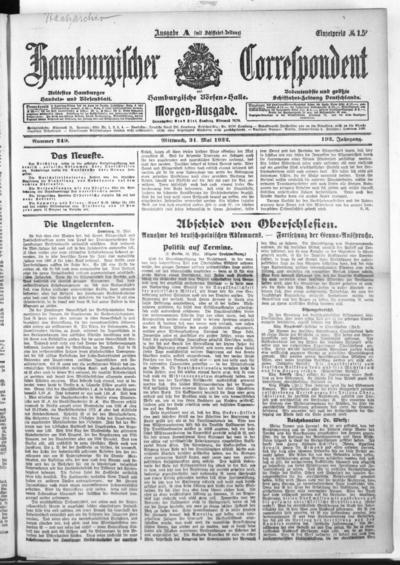 Börsen-Halle / ab 1905: Hamburgischer Correspondent und neue hamburgische Börsen-Halle - 1922-05-31