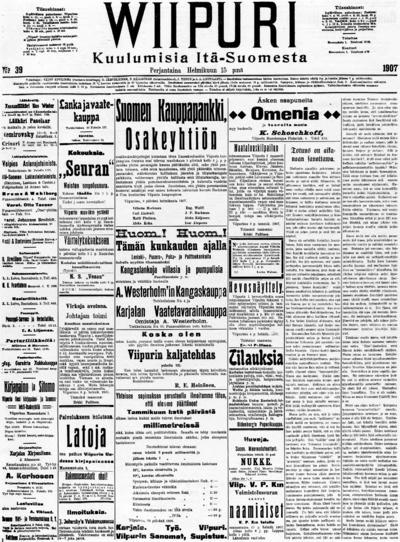 Wiipuri, nr: 19 Kuulumisia Itä-Suomesta - 1907-02-15