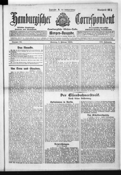 Börsen-Halle / ab 1905: Hamburgischer Correspondent und neue hamburgische Börsen-Halle - 1922-02-05