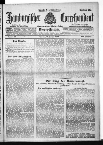 Börsen-Halle / ab 1905: Hamburgischer Correspondent und neue hamburgische Börsen-Halle - 1922-02-28