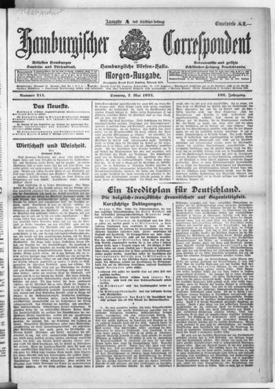 Börsen-Halle / ab 1905: Hamburgischer Correspondent und neue hamburgische Börsen-Halle - 1922-05-07