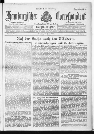 Börsen-Halle / ab 1905: Hamburgischer Correspondent und neue hamburgische Börsen-Halle - 1922-06-27