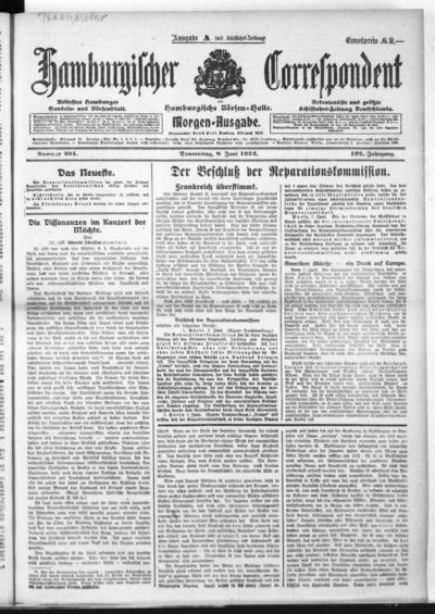 Börsen-Halle / ab 1905: Hamburgischer Correspondent und neue hamburgische Börsen-Halle - 1922-06-08