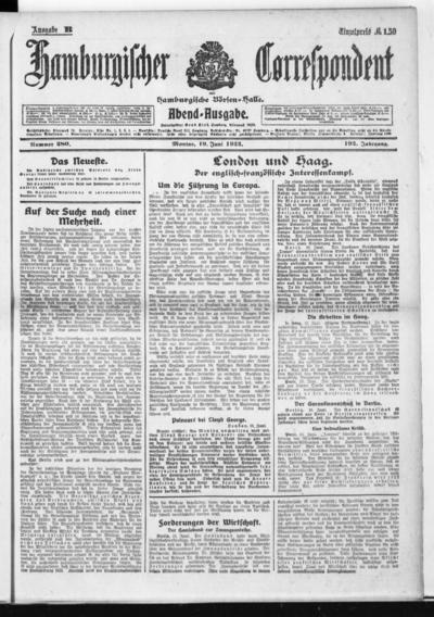 Börsen-Halle / ab 1905: Hamburgischer Correspondent und neue hamburgische Börsen-Halle - 1922-06-19