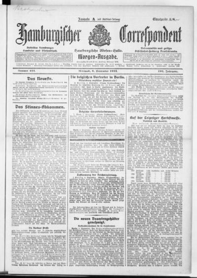 Börsen-Halle / ab 1905: Hamburgischer Correspondent und neue hamburgische Börsen-Halle - 1922-09-06