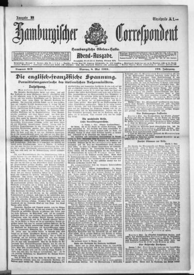Börsen-Halle / ab 1905: Hamburgischer Correspondent und neue hamburgische Börsen-Halle - 1922-05-08
