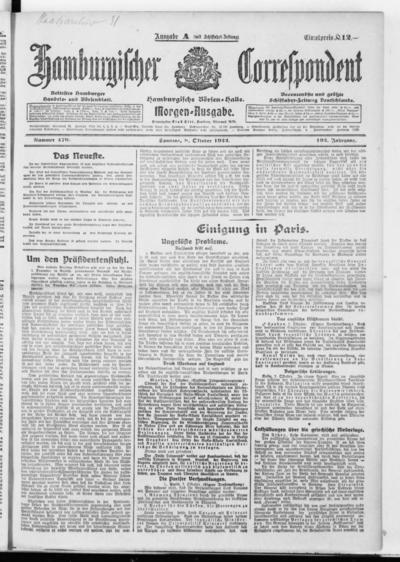 Börsen-Halle / ab 1905: Hamburgischer Correspondent und neue hamburgische Börsen-Halle - 1922-10-08