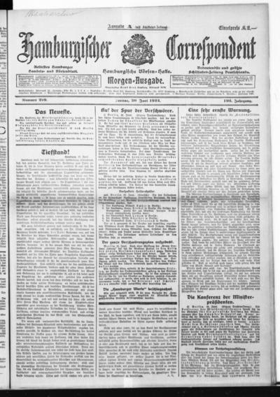 Börsen-Halle / ab 1905: Hamburgischer Correspondent und neue hamburgische Börsen-Halle - 1922-06-30