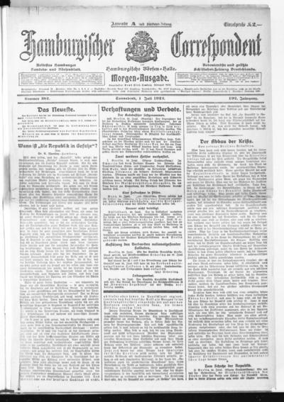 Börsen-Halle / ab 1905: Hamburgischer Correspondent und neue hamburgische Börsen-Halle - 1922-07-01