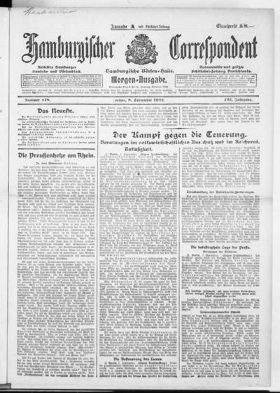 Börsen-Halle / ab 1905: Hamburgischer Correspondent und neue hamburgische Börsen-Halle - 1922-09-08