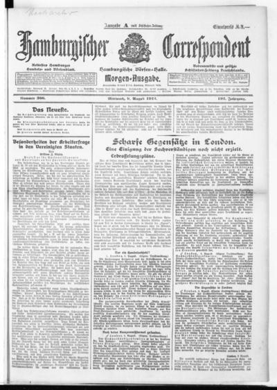 Börsen-Halle / ab 1905: Hamburgischer Correspondent und neue hamburgische Börsen-Halle - 1922-08-09