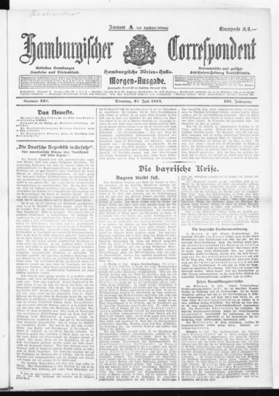 Börsen-Halle / ab 1905: Hamburgischer Correspondent und neue hamburgische Börsen-Halle - 1922-07-25