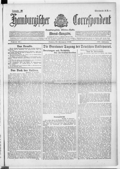 Börsen-Halle / ab 1905: Hamburgischer Correspondent und neue hamburgische Börsen-Halle - 1922-09-25