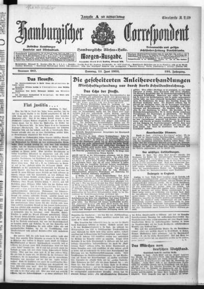Börsen-Halle / ab 1905: Hamburgischer Correspondent und neue hamburgische Börsen-Halle - 1922-06-11