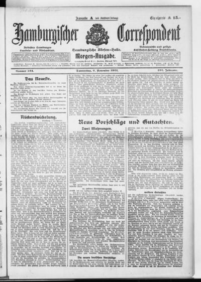 Börsen-Halle / ab 1905: Hamburgischer Correspondent und neue hamburgische Börsen-Halle - 1922-11-09