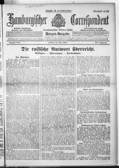 Börsen-Halle / ab 1905: Hamburgischer Correspondent und neue hamburgische Börsen-Halle - 1922-05-12