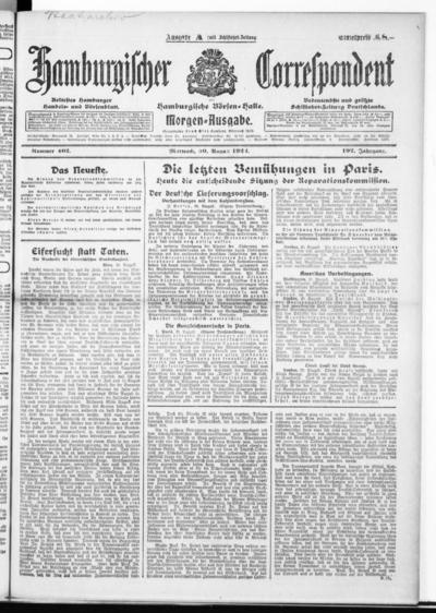 Börsen-Halle / ab 1905: Hamburgischer Correspondent und neue hamburgische Börsen-Halle - 1922-08-30